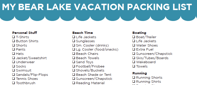 list of what to bring on vacation